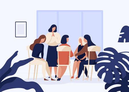 Kobiece postacie siedzące na krzesłach w kręgu i rozmawiające ze sobą. Terapia grupowa, spotkanie psychoterapeutyczne lub pomoc psychologiczna dla kobiet. Ilustracja wektorowa kolorowy w nowoczesnym stylu płaski.