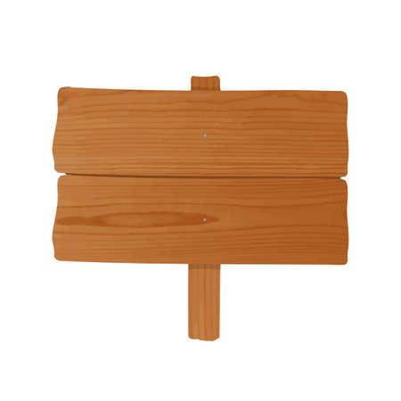 Cartelera hecha de un par de tablones de madera sin tallar y un poste clavados juntos. Letrero vacío o poste indicador aislado sobre fondo blanco. Elemento de diseño decorativo de dibujos animados. Ilustración vectorial de color