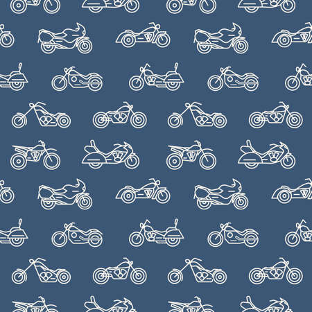 Monochrome seamless pattern with motorcycles of various models drawn with white outlines on blue background - chopper, bobber, sport and motocross bikes. Vector illustration in trendy linear style