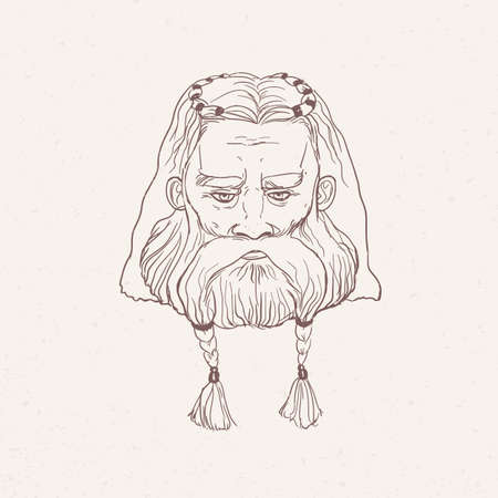 Head of Nordic warrior with beard braids hand drawn with contour lines on light background. Outline drawing of face of legendary hero, folkloric character, viking. Monochrome vector illustration. Ilustração