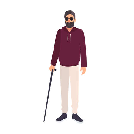 Blind man wearing sunglasses and holding cane isolated on white background. Male character with blindness, visual impairment or vision loss. Colorful vector illustration in flat cartoon style