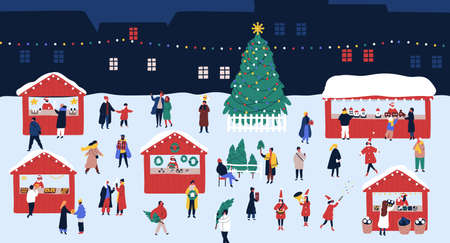 Christmas market or holiday outdoor fair on town square. People walking between decorated stalls or kiosks, buying snacks and drinking mulled wine. Colorful vector illustration in flat cartoon style