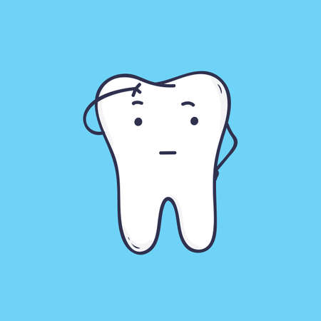Cute pensive tooth. Funny thoughtful mascot or symbol for dental, oral care or orthodontic clinic. Lovely cartoon character isolated on blue background. Colorful vector illustration in flat style 일러스트