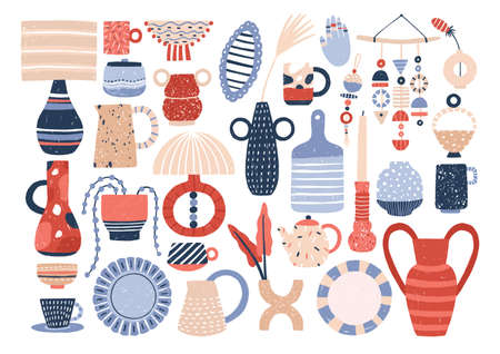 Collection of trendy ceramic household crockery and pottery - cups, plates, bowls, vases, mugs. Bundle of utensils for home decoration isolated on white background. Flat cartoon vector illustration  イラスト・ベクター素材