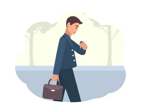 Jeune homme va travailler le matin. Personnage masculin marchant dans la rue et regardant la montre-bracelet. Personne occupée ou employé de bureau. Début de la journée. Illustration vectorielle colorée en style cartoon plat Vecteurs