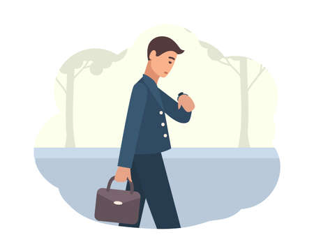Young man going to work in morning. Male character walking on street and looking at wristwatch. Busy person or office worker. Start of day. Colorful vector illustration in flat cartoon style