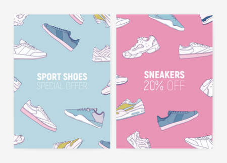 Bundle of flyer, poster or card templates with athletic sneakers or trainers for sports and fitness and place for text. Sale and discount. Vector illustration for footwear shop advertisement, promo
