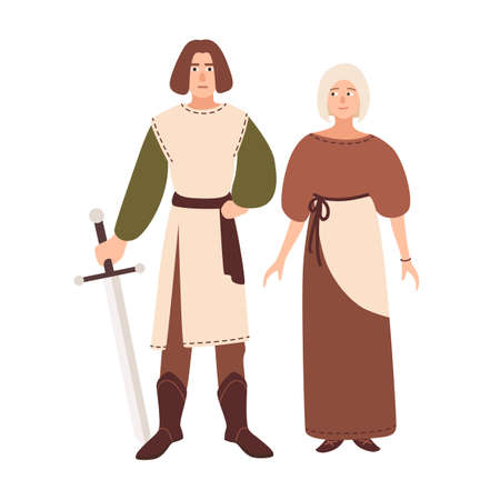 Young couple dressed in middle ages clothes. Smiling boyfriend and girlfriend. Historical reenactment and role playing games subculture or counterculture. Vector illustration in flat cartoon style