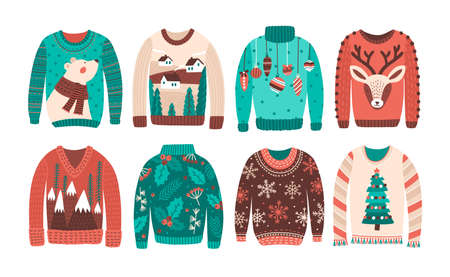 Bundle of ugly Christmas sweaters or jumpers isolated on white background. Set of seasonal knitted warm winter clothing with weird prints. Colorful vector illustration in flat cartoon style Ilustracja