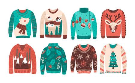 Pacco di brutti maglioni di Natale o ponticelli isolati su sfondo bianco. Set di abbigliamento invernale caldo a maglia stagionale con stampe strane. Illustrazione vettoriale colorato in stile cartone animato piatto Vettoriali