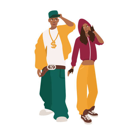 African American man and woman dressed in loose clothes. Pair or rappers. Young rap or RnB fans. Cute male and female cartoon characters isolated on white background. Colorful vector illustration.