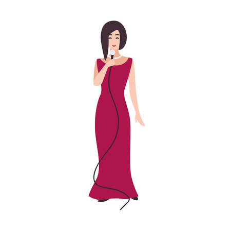 Smiling singer, vocalist or songstress wearing elegant evening dress and holding microphone. Pretty female cartoon character isolated on white background. Colored vector illustration in flat style.