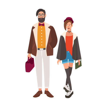 Pair of stylish hipsters. Young man and woman dressed in fancy trendy clothes. Stylish couple. Cute male and female cartoon characters isolated on white background. Colorful vector illustration. Stock Illustration - 108891721