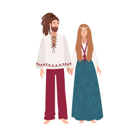 Hippie man and woman with long hair dressed in loose ethnic clothes standing together and holding hands. Male and female cartoon characters isolated on white background. Colored vector illustration.