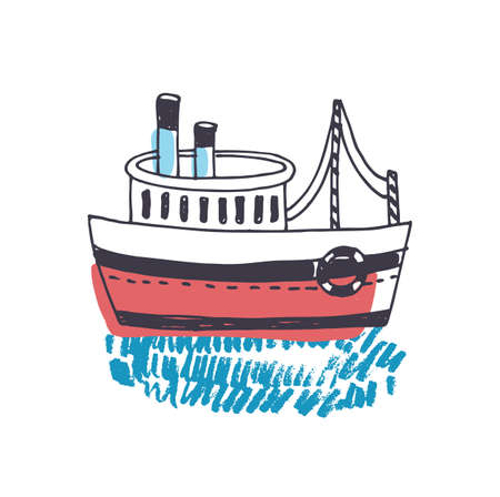 Doodle drawing of passenger ship, marine vessel, touristic watercraft or boat floating on ocean waves isolated on white background. Sea journey or trip. Colorful hand drawn vector illustration. Stock Photo