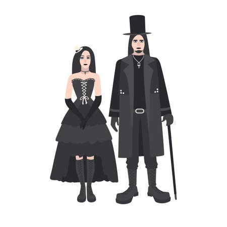Young goth man and woman with long hair dressed in black clothing standing together. Boyfriend and girlfriend. Gothic counterculture or subculture. Colorful vector illustration in flat cartoon style.