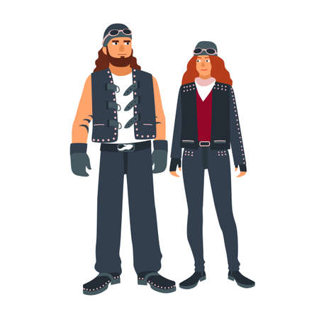 Pair of man and woman bikers dressed in black leather motorcycling clothes isolated on white background. Outlaw motorcycle club subculture. Colorful vector illustration in flat cartoon style. Stock Photo