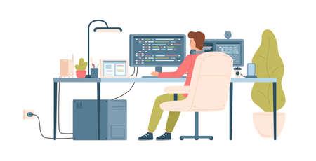 Programmeur, codeur, développeur Web ou ingénieur logiciel assis au bureau et travaillant sur ordinateur ou programmation. Lieu de travail du travailleur informatique. Vue arrière. Illustration vectorielle colorée en style cartoon plat Vecteurs