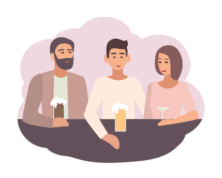 Smiling man sitting at bar counter with friends and drinking beer and cocktails. Male character spending time with mates. Daily life scene. Colorful vector illustration in flat cartoon style