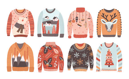 Set of ugly Christmas sweaters or jumpers isolated on white background. Collection of winter holiday knitted clothes with bizarre prints and pattern. Colored vector illustration in flat cartoon style