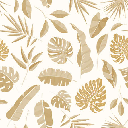 Monochrome seamless pattern with luxuriant vegetation of tropical rainforest. Backdrop with exotic leaves of jungle trees. Summer realistic vector illustration for textile print, wrapping paper.