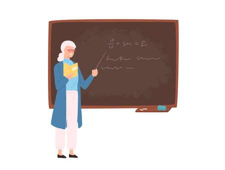 Friendly elderly female school or college teacher, professor, education worker standing beside chalkboard, holding pointer and teaching. Colorful vector illustration in flat cartoon style Ilustração