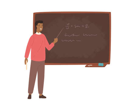 Enthusiastic African American male school teacher, college professor or lecturer standing beside chalkboard, holding pointer and explaining lesson. Colorful vector illustration in flat cartoon style