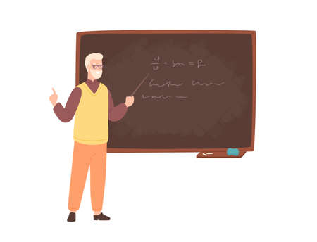 Elderly male college teacher, university professor, lecturer or educational worker standing beside chalkboard, holding pointer and teaching. Colorful vector illustration in flat cartoon style.