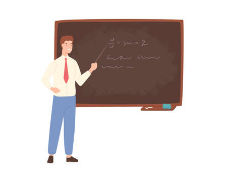 Inspiring male school teacher, university professor or educational worker standing beside chalkboard, holding pointer and giving lecture. Colorful vector illustration in flat cartoon style