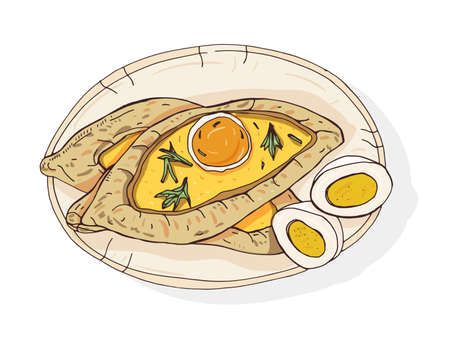 Adjaran open khachapuri. Traditional Georgian boat-shaped pie with cheese and topped with raw egg and butter. Delicious meal of Caucasian cuisine. Colorful realistic hand drawn vector illustration