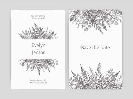 Set of floral wedding invitation and Save The Date card templates decorated with forest ferns and wild herbaceous plants drawn with contour lines on white background. Monochrome vector illustration