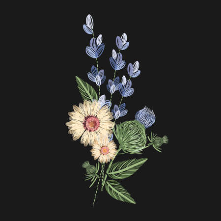 Bouquet of wild flowers embroidered with colorful threads on black background. Embroidery design with herbaceous plants or flowering herbs. Trendy needlework or fancywork. Colored vector illustration