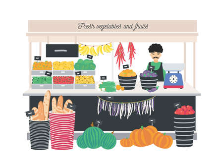 Greengrocer seller standing at counter, stall or kiosk with scales, fruits, vegetables and bread. Grocery shop or store on local farmers market. Colorful vector illustration in flat cartoon style Illustration