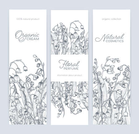 Bundle of vertical banner, label or tag templates with gorgeous woodland lily of the valley blooming flowers and place for text. Monochrome vector illustration for natural cosmetics or perfume promo