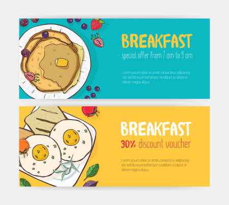 Collection of horizontal discount voucher or coupon templates with delicious breakfast meals lying on plates. Bright colored vector illustration for cafe or restaurant promotion, advertisement Imagens - 117295971