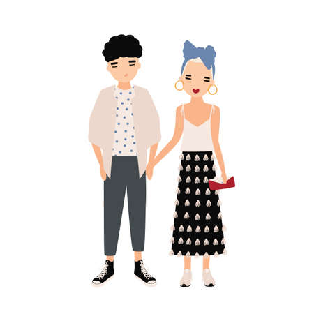 Young man and woman dressed in elegant clothes standing together. Fashionable couple, stylish pair. Cartoon characters isolated on white background. Colored vector illustration in flat style