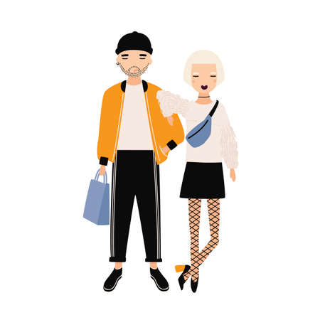 Hipster boy and girl dressed in trendy clothes standing together. Modern boyfriend and girlfriend. Cartoon characters isolated on white background. Colorful vector illustration in flat style.