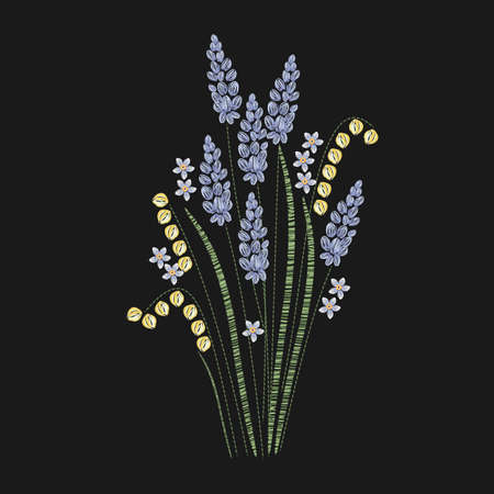 Beautiful lavender embroidered with purple and green stitches on black background. Gorgeous floral embroidery design with flowering herbaceous plant. Needlework or handicraft. Vector illustration