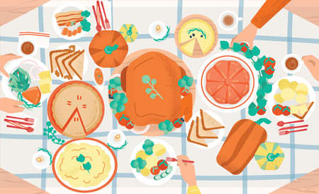 Thanksgiving festive dinner. Tasty traditional holiday meals lying on plates and hands of people eating them. Decorated table with delicious dishes, top view. Colored cartoon vector illustration