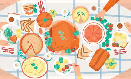 Uroczysta kolacja na Święto Dziękczynienia. Smaczne tradycyjne świąteczne posiłki leżące na talerzach i rękach jedzących je osób. Udekorowany stół z pysznymi daniami, widok z góry. Ilustracja wektorowa kolorowy kreskówka Ilustracje wektorowe