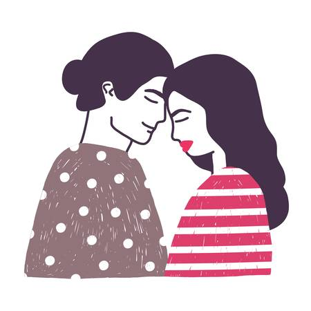 Drawing of cute young romantic couple or pair of man and woman in love. Hugging boyfriend and girlfriend hand drawn on white background. Vector illustration in doodle style for St. Valentines Day