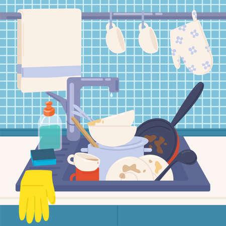 Fregadero de la cocina lleno de platos sucios o menaje de cocina para lavar, detergentes, esponja y guantes de goma. Casa desordenada. Lavado manual de vajilla o limpieza del hogar. Ilustración de vector colorido en estilo de dibujos animados plana