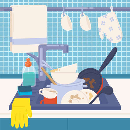 Kitchen sink full of dirty dishes or kitchenware to wash, detergents, sponge and rubber gloves. Messy house. Manual dishwashing or home cleaning. Colorful vector illustration in flat cartoon style