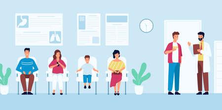 Gente sonriente sentada en sillas y esperando la hora de la cita con el médico en el hospital. Hombres y mujeres en el consultorio médico o en la clínica. Ilustración de vector colorido en estilo moderno de dibujos animados plana