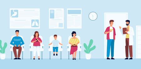 Smiling people sitting in chairs and waiting for doctor's appointment time at hospital. Men and women at physician's office or clinic. Colorful vector illustration in modern flat cartoon style