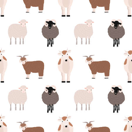 Seamless pattern with cute farm animals on white background. Backdrop with domestic livestock - cow, goat, sheep, ram. Colorful vector illustration in flat cartoon style for fabric print, wallpaper.
