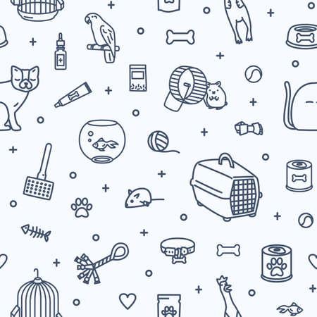 Monochrome seamless pattern with domestic animals and items for pet care and entertainment drawn with contour lines on white background. Vector illustration in modern linear style for fabric print Vectores