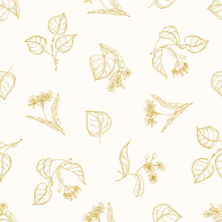 Monochrome seamless pattern with linden leaves and inflorescences hand drawn with contour lines on light background. Elegant vector illustration in antique style for fabric print, wrapping paper
