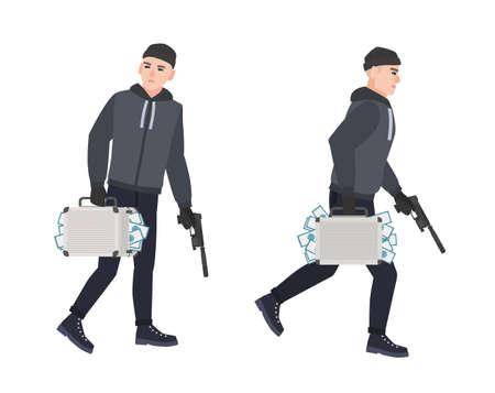 Schleichender Dieb, Einbrecher oder Räuber mit Waffe und Koffer voller gestohlenem Geld. Raub oder Diebstahl. Männliche Zeichentrickfigur isoliert auf weißem Hintergrund. Bunte Vektorillustration im flachen Stil