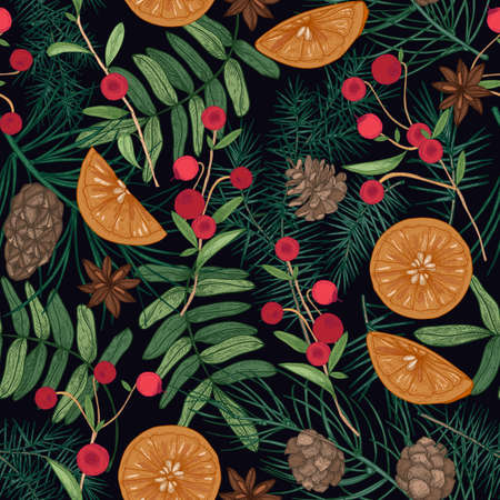 Holiday seamless pattern with pine and spruce tree branches, needles and cones, rowan berries and cranberries, oranges, star anise on black background. Festive vector illustration for fabric print